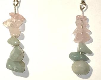 Rose Quartz and Amazonite dangle earrings