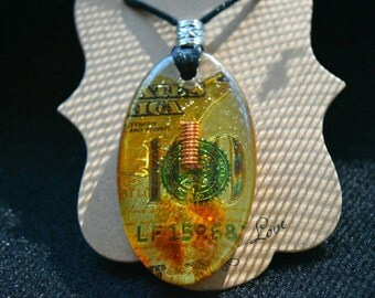 Citrine and double terminated clear quartz pendant - Great for manifesting abundance and prosperity