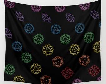 Rainbow Chakra Pattern Tapestry - 3 Sizes