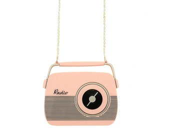 Retro 50s Candy Coloured Radio Necklace - Kitsch Large statement pendant - Rockabilly Mid Century Style