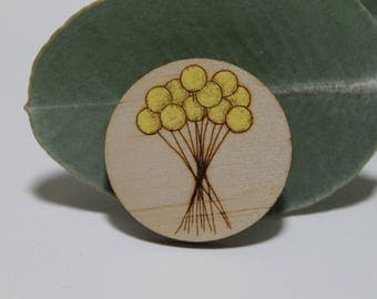 Billy Button Flower Brooch-Wood Flower Brooch-Australian Flower Brooch-Handpainted Brooch-Laser Cut Brooch-Wood Brooch-Laser Cut