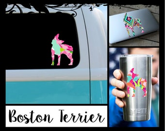Boston Terrier Decal -  Ozark / tumbler decal/ laptop / car / school book / yeti / tumbler / truck / mug / notebook / coffee cup
