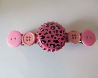 Pink Cheetah Bottle Cap Button Barrette, Birthday Gift, Gifts for her, Gifts for girls, Gifts for teens, Button barrettes, Hair Accessories