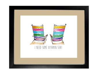 Beach Chairs Summer Coast Watercolor Art Print Home Decor Wall Hanging Poster 8.5 x 11 Inches