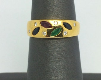 18K Solid Yellow Gold Natural Multi-Color Stone and Diamond Ring