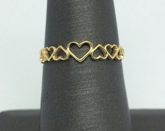 14k Yellow Gold Open Hearts Ring