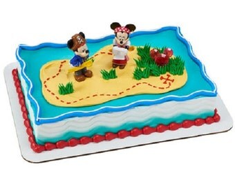 Mickey Mouse & Minnie Mouse Pirates Cake Topper Decoration Set