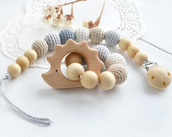 Gift set Pacifier Clip  Holder and Teething Rattle ring Grey Cream Beige  Set - Hedgehog wood Teether - Neutral color -  Baby shower gift