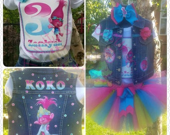 Trolls Tutu, Trolls Birthday Outfit, Trolls Party, Trolls Shirt, Trolls Vest, Trolls Birthday Shirt, Denim Vest, Birthday Vest
