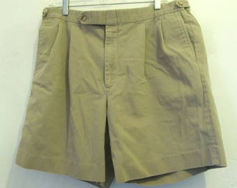 Marked Down@@Men's PLEATED Vintage 80's,Tan KHAKI Shorts Tailored By BERLE.36