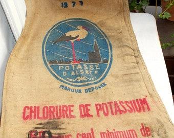 Large Vintage Grain Sack, Hessian, Burlap Sack, Jute Stork Sack. Potasse D'Alsace Vintage French Jute Sack, Upholstery Sack, Pillows (5496)
