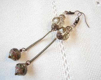 Brown earrings Her gift for mother Dangle earrings Teardrop earrings Beige earrings Czech Picasso bead earrings Smoked topaz earrings Beaded