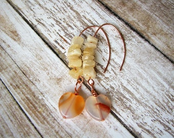Citrine earrings Yellow earrings Mother gift friend Wire earrings Copper wire earrings Wedding earrings Drop earrings Her gift Gem earrings