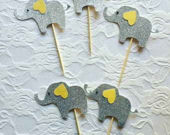 Baby Shower Elephant CupCake Toppers- Baby Elephant Theme - Cupcake Toppers