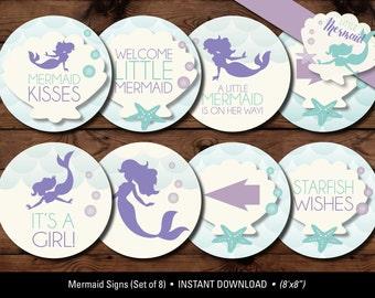 Mermaid Baby Shower Signs/Little Mermaid Baby Shower Signs, Mermaid Baby Shower Printables/Little Mermaid Baby Shower/Mermaid Decorations