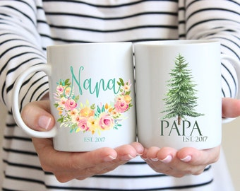 Pregnancy Announcement Mugs, Nana Mug, Papa Mug, Mug Set, Grandparent Mug, Grandmother Mug, Grandfather Mug, Grandparents To Be Mug Set