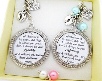 KEYRING Set - *You left too soon *Baby loss,miscarriage,Sympathy gift,infant loss,stillborn,SIDS,Daddy to an Angel,Mommy to an Angel
