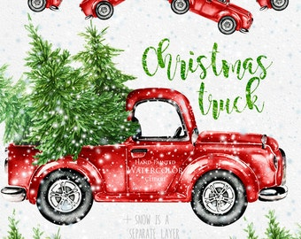 Watercolor Christmas Truck, Vintage Red Pickup, Pine Tree, Retro Car, Hand painted Clipart, Snow, Santa, New Year decoration, Greeting card