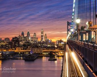 Philadelphia Sunset Rush: Philadelphia print, philadelphia art, Philadelphia Skyline, Philadelphia poster, Philly print, Philly Art