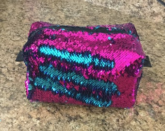 Fuchsia and Turquoise Sequin Bag