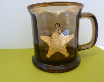 Gold Badge, Sheriff of Indiana, Amber Glass, Coffee Mug, Made in USA