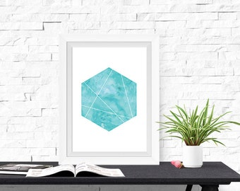 Geometric Design Hexagon Shape 8x10 inch Poster Print - P1209