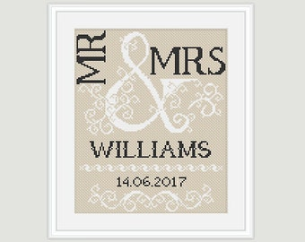 Wedding Cross Stitch Pattern - Scheme for cross stitch- Mr & Mrs- Wedding Gift - Embroidery- PDF - INSTANT DOWNLOAD