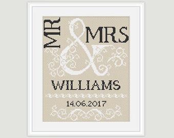 Wedding Cross Stitch Pattern - Scheme for cross stitch- Mr & Mrs- Wedding Gift - Embroidery- PDF - INSTANT DOWNLOAD