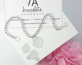 Customized bracelet in Silver 925 with 4 mm balls and heart pendant or carriage