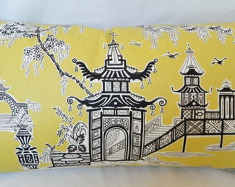 Peaceful Temple By Waverly / Yellow and Black Decorative Lumbar Pillow Cover / Both Sided / 14x26