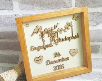 Handmade Engagement Gift, Wooden Framed Personalised Engagement Gift, Personalised Handmade Wedding Gift.