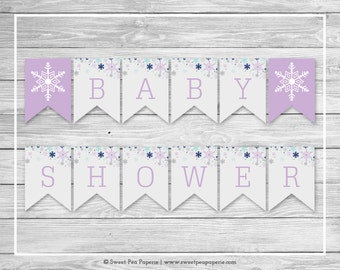 Winter Baby Shower Banner - Printable Baby Shower Banner - Baby It's Cold Outside Baby Shower - Baby Shower Banner - EDITABLE - SP143