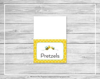 Bumble Bee Baby Shower Buffet Labels - Printable Baby Shower Buffet Labels - Bumble Bee Baby Shower - Bee Food Labels - EDITABLE - SP138