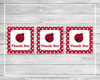 Ladybug Baby Shower Favor Thank You Tags   Printable Baby Shower Thank You  Tags   Ladybug
