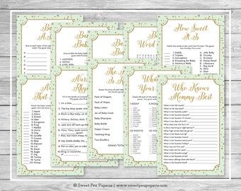 Mint and Gold Baby Shower Games - 10 Printable Baby Shower Games - Mint and Gold Confetti Baby Shower - Baby Shower Games Package - SP147