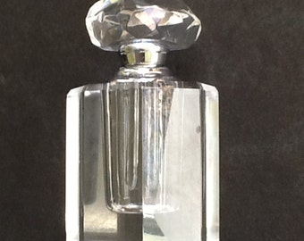 Set of 2 Oleg Cassini Lead Crystal Perfume Bottles~Signed on Bottoms~24% Lead Crystal~Octagon Screw Stopper~2-1/2 In Tall~Attached Dabber~