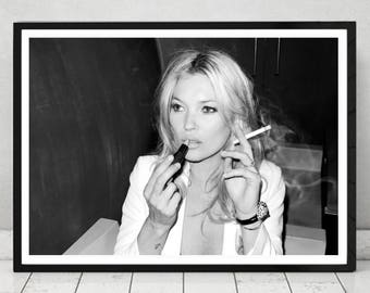 Smoking Kate Moss - Home Décor, Vintage poster, Fashion, Model, Print,