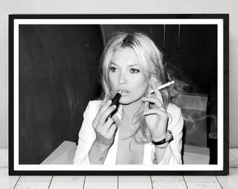 Smoking Kate Moss - Home Décor, Vintage poster, Fashion, Model, Print,