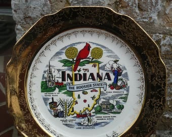 """Indiana State Plate, Sabin """"Crest-O-Gold"""", USA"""