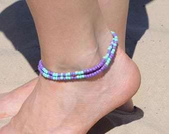 Double wrap anklet Gypsy Ankle Bracelet Boho Anklet Beaded anklet Beachy anklet Turquoise anklet Lavander anklet Girlfriend gift|for|women