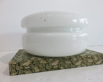 Signed Tommaso Barbi Mid-Century Modern Murano Glass Covered Bowl, Made In Italy.