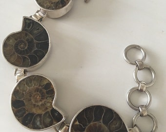 Sterling Silver and Ammonite Bracelet