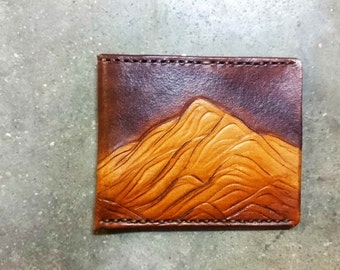 Leather Wallet, The Slim with mountains, mountain wallet, thin leather wallet, brown leather wallet, front pocket wallet for him for her