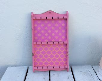 Decoupaged Hot Pink Spoon/Necklace Rack