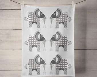 Elephant Tiled Tea Towel