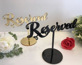 Reserved Table Sign, Reserved Sign for Weddings Freestanding Reserved Table Sign Wedding Party Table Decor Reception Sign, Custom table sign