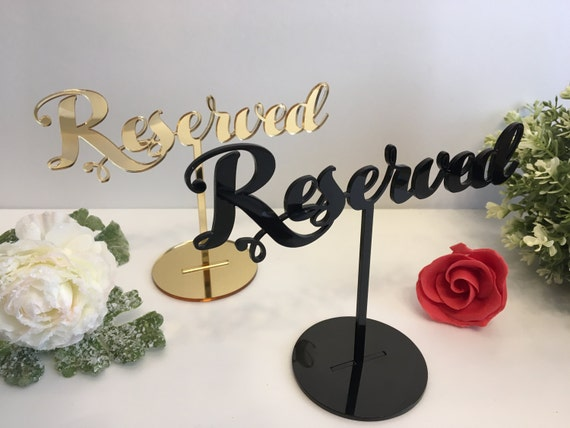 Reserved Table Sign Reserved Seating Reserved Sign for Weddings Freestanding Acrylic Reserved Wedding Sign Reception Sign Custom table signs