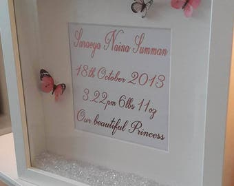 Baby girl personalised pink foil birth information frame with butterflies and crystals