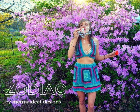 Zodiac Granny Square crop top and skirt set