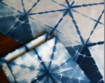 Shibori linen/cotton tablecloth w/2 matching napkins, cafe cloth, picnic cloth, wine bottle carrier, indigo dyed